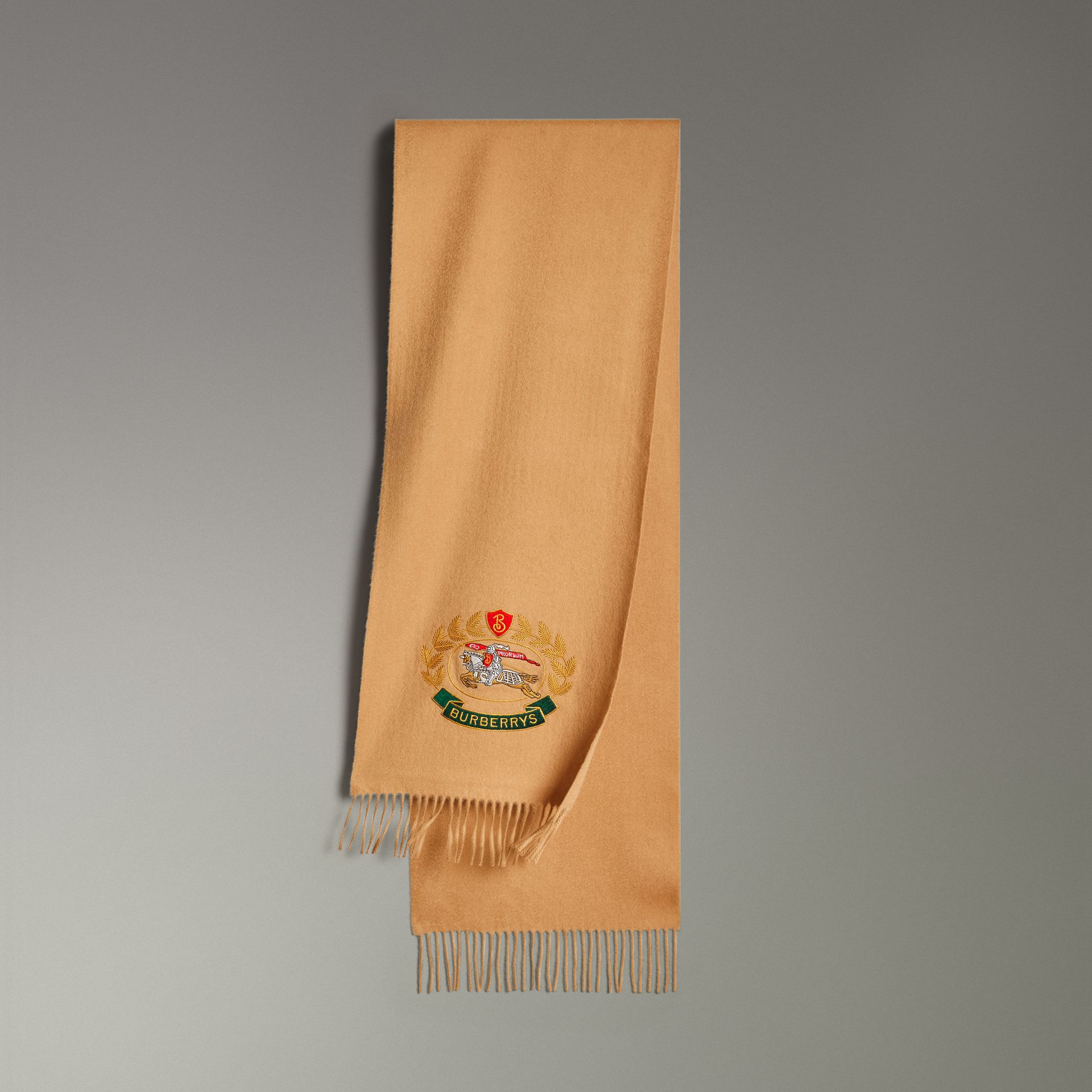 The Classic Cashmere Scarf with Archive Logo in Antique Yellow | Burberry Australia - gallery image 0