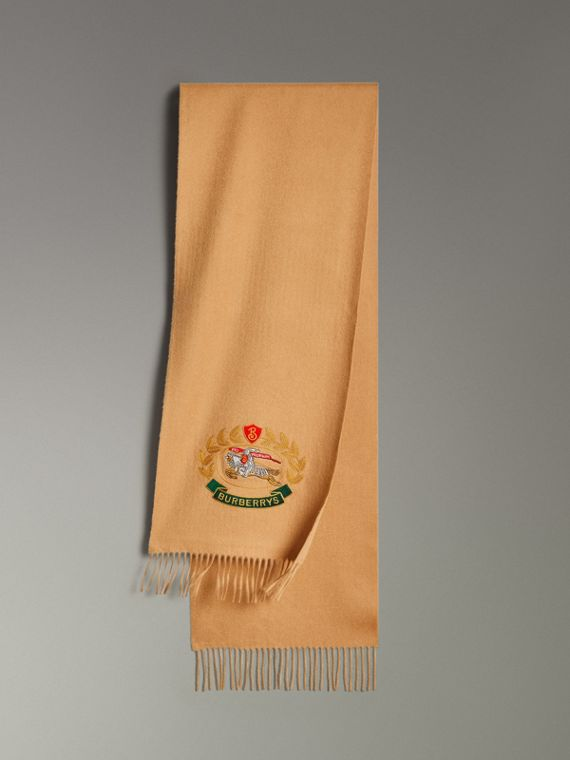 The Classic Cashmere Scarf with Archive Logo in Antique Yellow