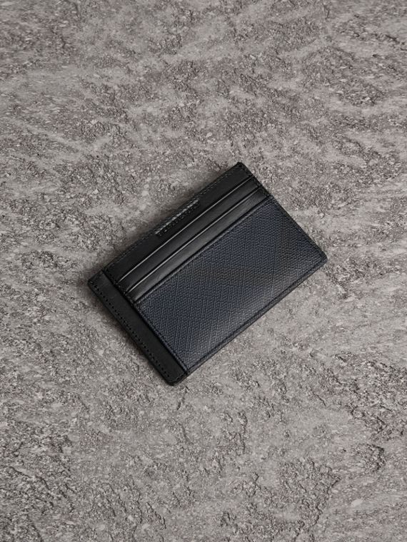 Kartenetui mit Smoked Check-Muster (Marineblau/schwarz)