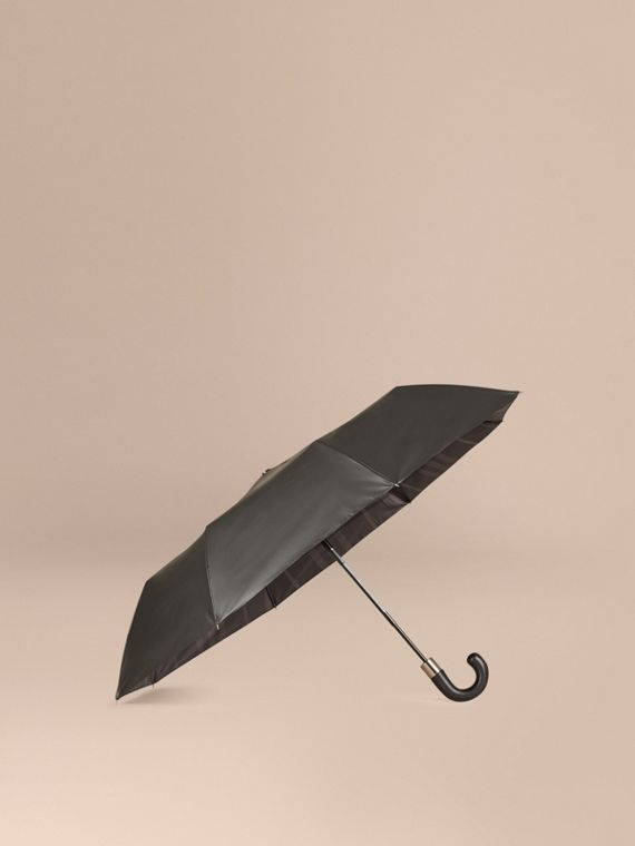 Check-lined Folding Umbrella in Dark Charcoal