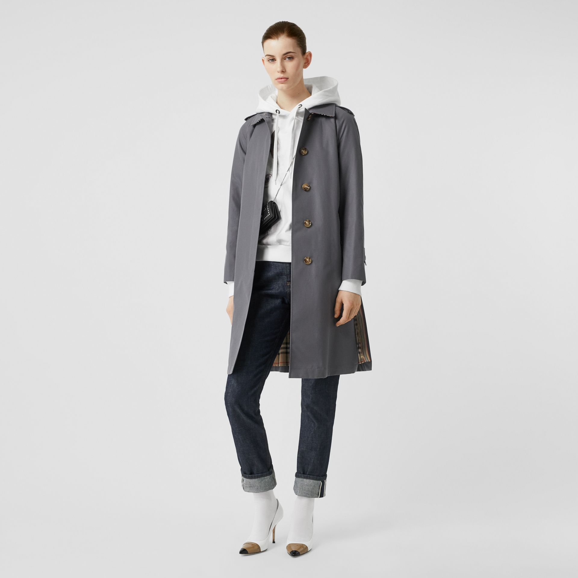 Cotton Gabardine Belted Car Coat in Mid Grey - Women | Burberry Canada - gallery image 0