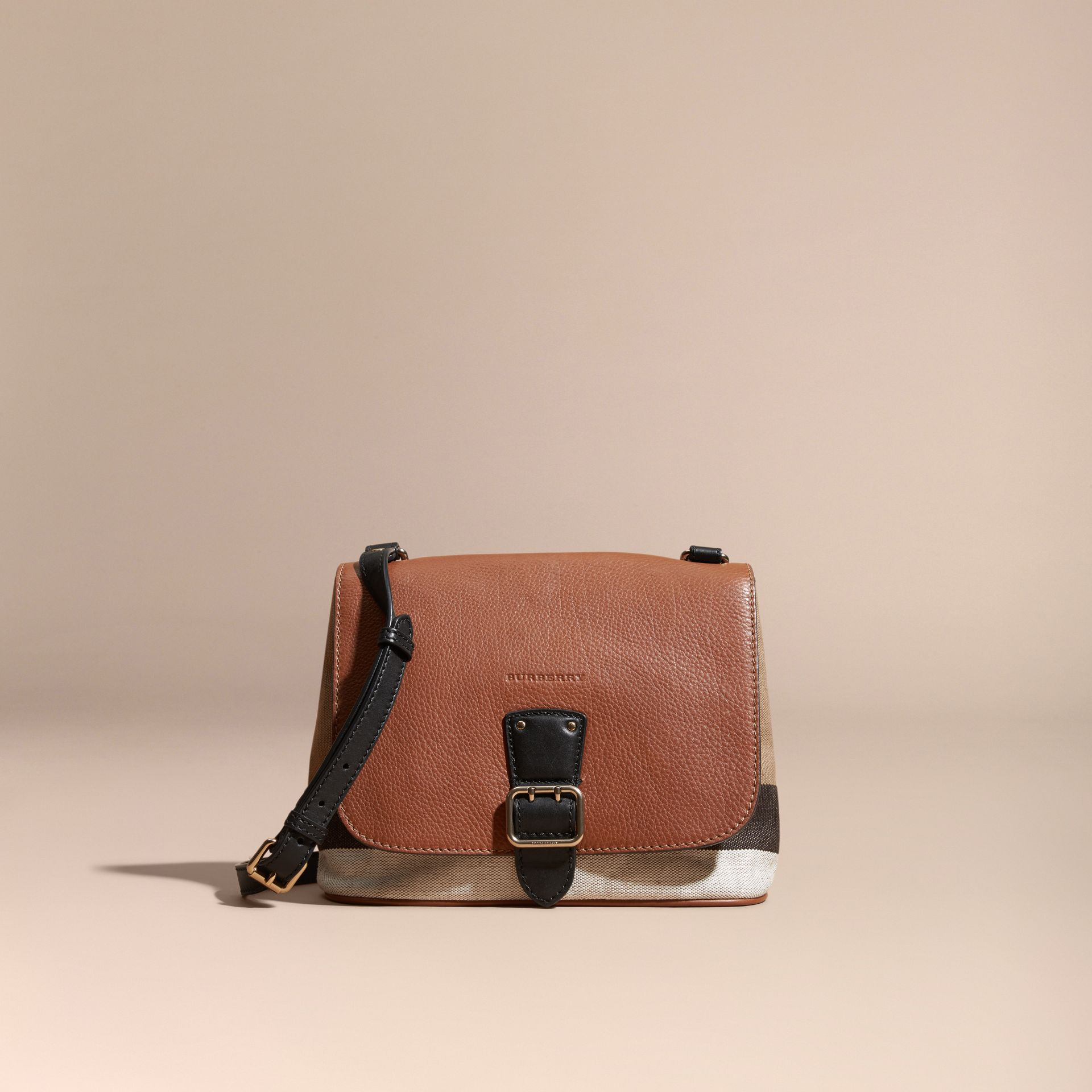 Tan Canvas Check and Leather Crossbody Bag - gallery image 8