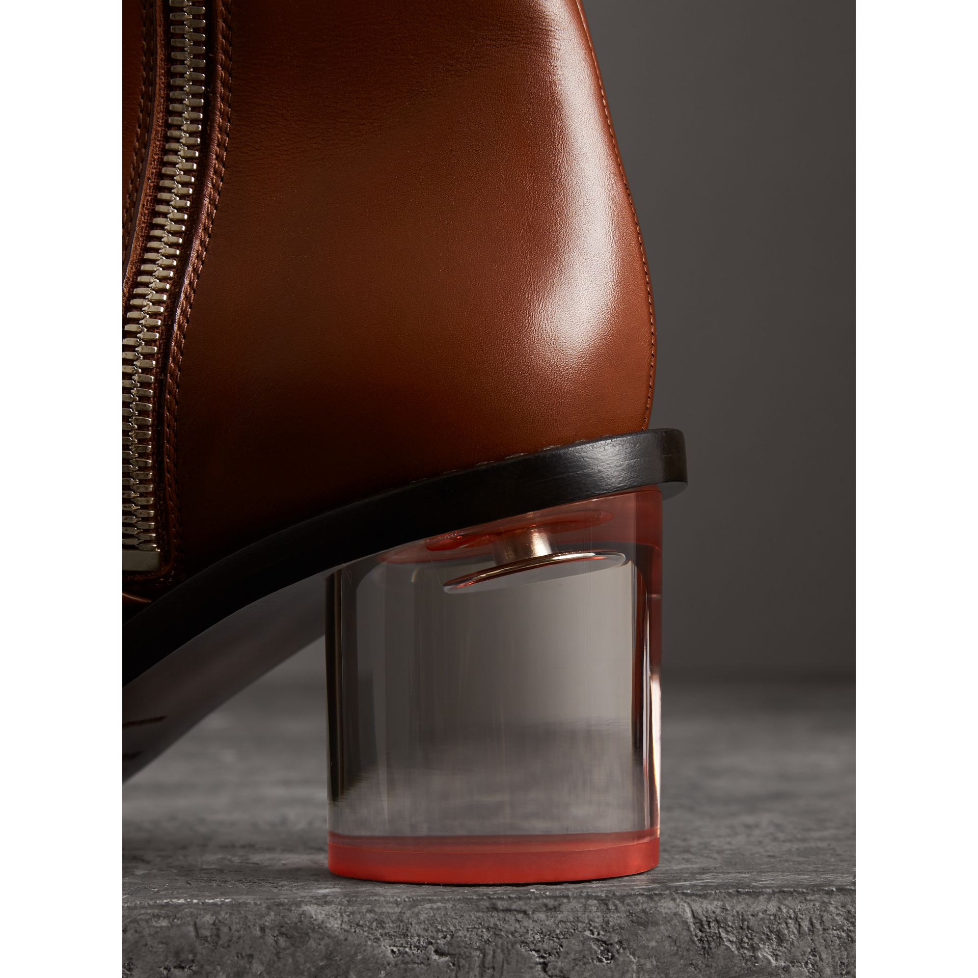 Two-tone Leather Block-heel Boots in Cognac - Women | Burberry United Kingdom - gallery image 1