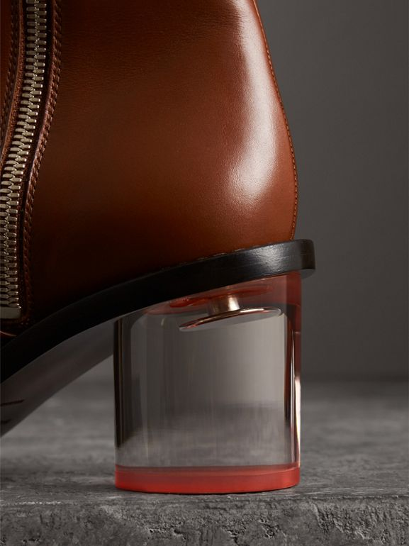 Two-tone Leather Block-heel Boots in Cognac - Women | Burberry United Kingdom - cell image 1