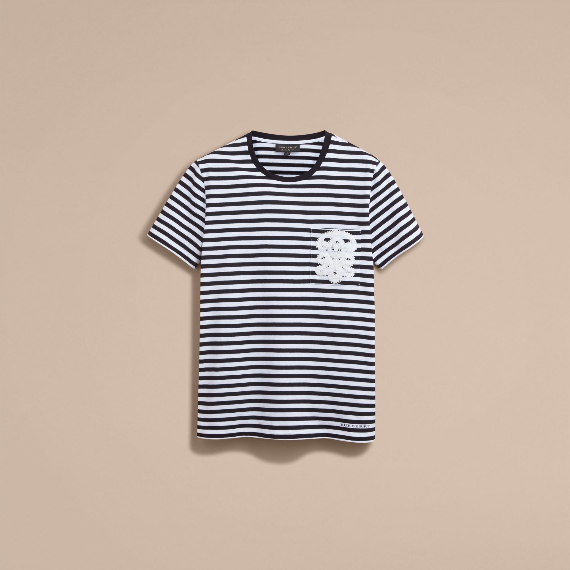 Lace Appliqué Detail Breton Stripe Cotton T-shirt in Black/white - Men | Burberry - gallery image 4