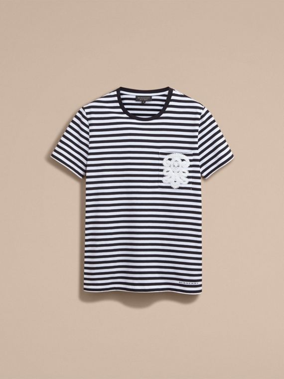Lace Appliqué Detail Breton Stripe Cotton T-shirt in Black/white - Men | Burberry - cell image 3