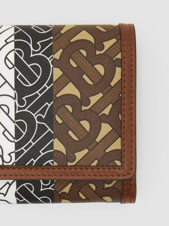 Monogram Stripe E-canvas Continental Wallet in Bridle Brown - Women | Burberry - cell image 1