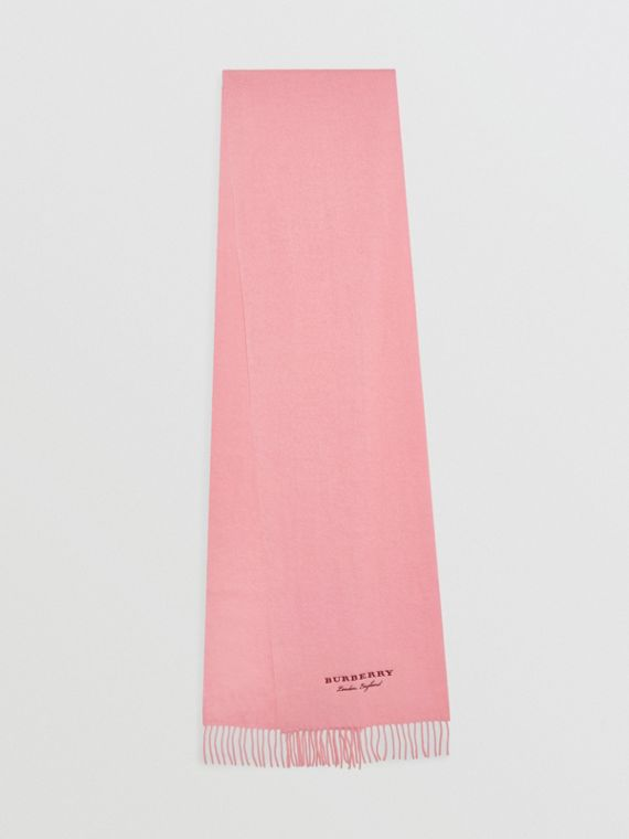 Embroidered Cashmere Fleece Scarf in Pale Rose
