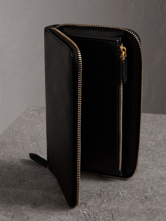 London Check Ziparound Wallet in Chocolate/black - Men | Burberry - cell image 3