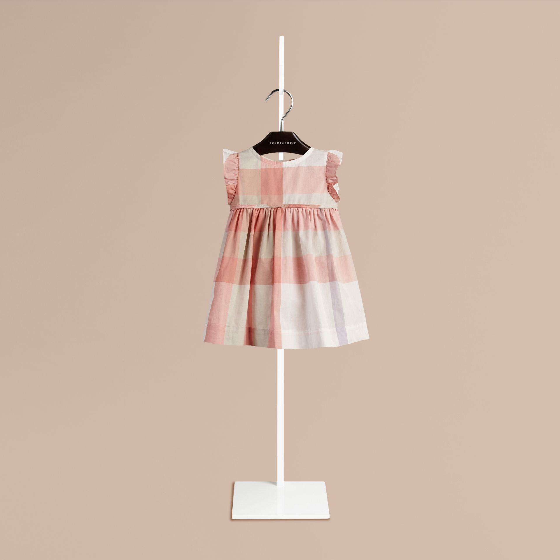Light copper pink Flutter Sleeve Check Dress Light Copper Pink - gallery image 1