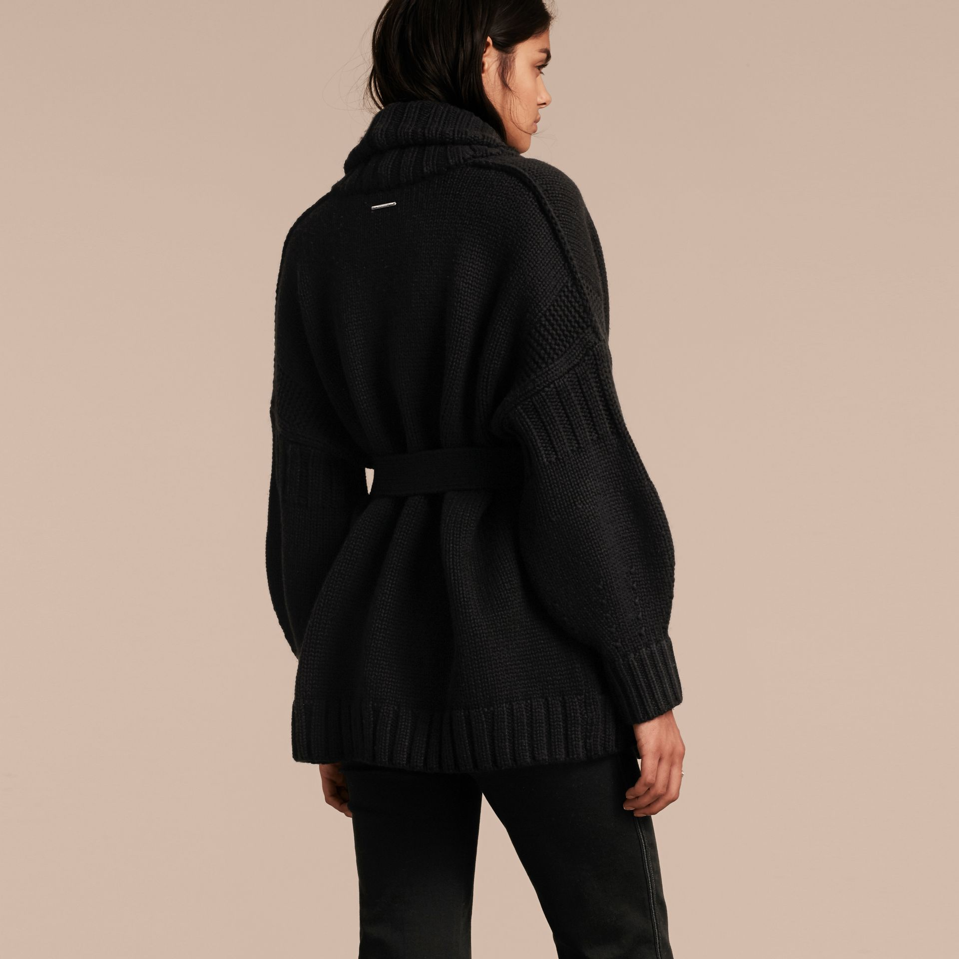 Black Knitted Wool Cashmere Belted Cardigan Jacket Black - gallery image 3