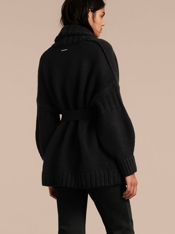 Black Knitted Wool Cashmere Belted Cardigan Jacket Black - cell image 2