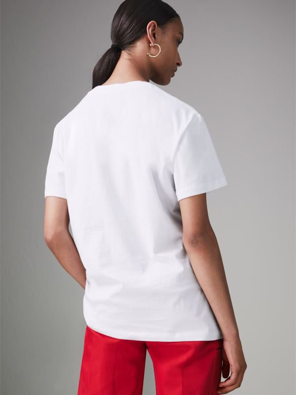 Embroidered Archive Logo Cotton T-shirt in White - Women | Burberry United Kingdom - cell image 2