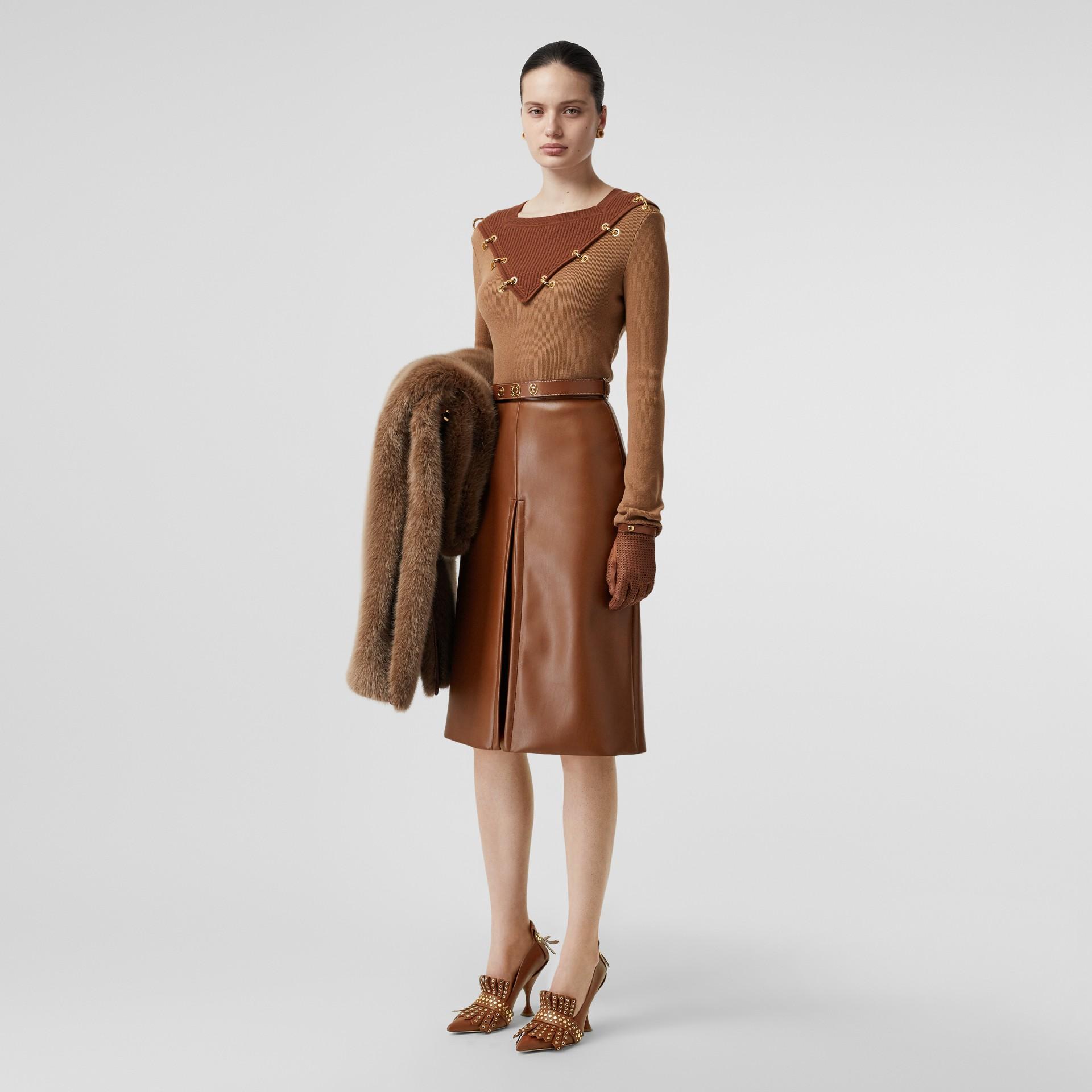 Pull en laine et cachemire bicolore avec anneaux (Camel Intense) - Femme | Burberry Canada - photo de la galerie 4