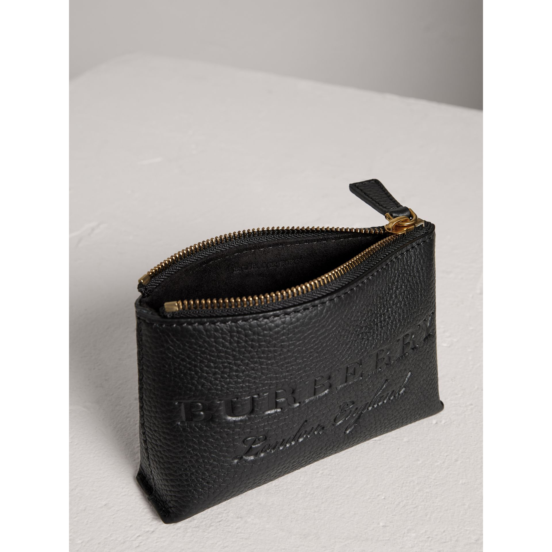 Small Embossed Leather Zip Pouch in Black | Burberry Australia - gallery image 3