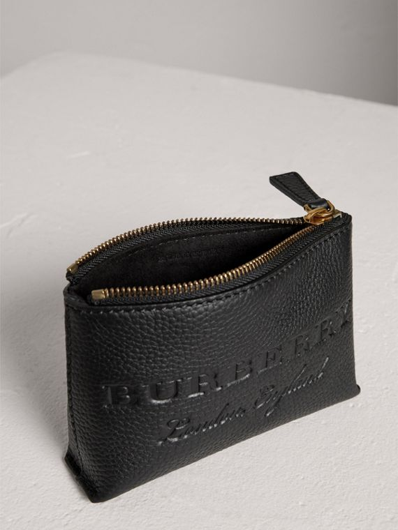 Small Embossed Leather Zip Pouch in Black | Burberry Australia - cell image 3