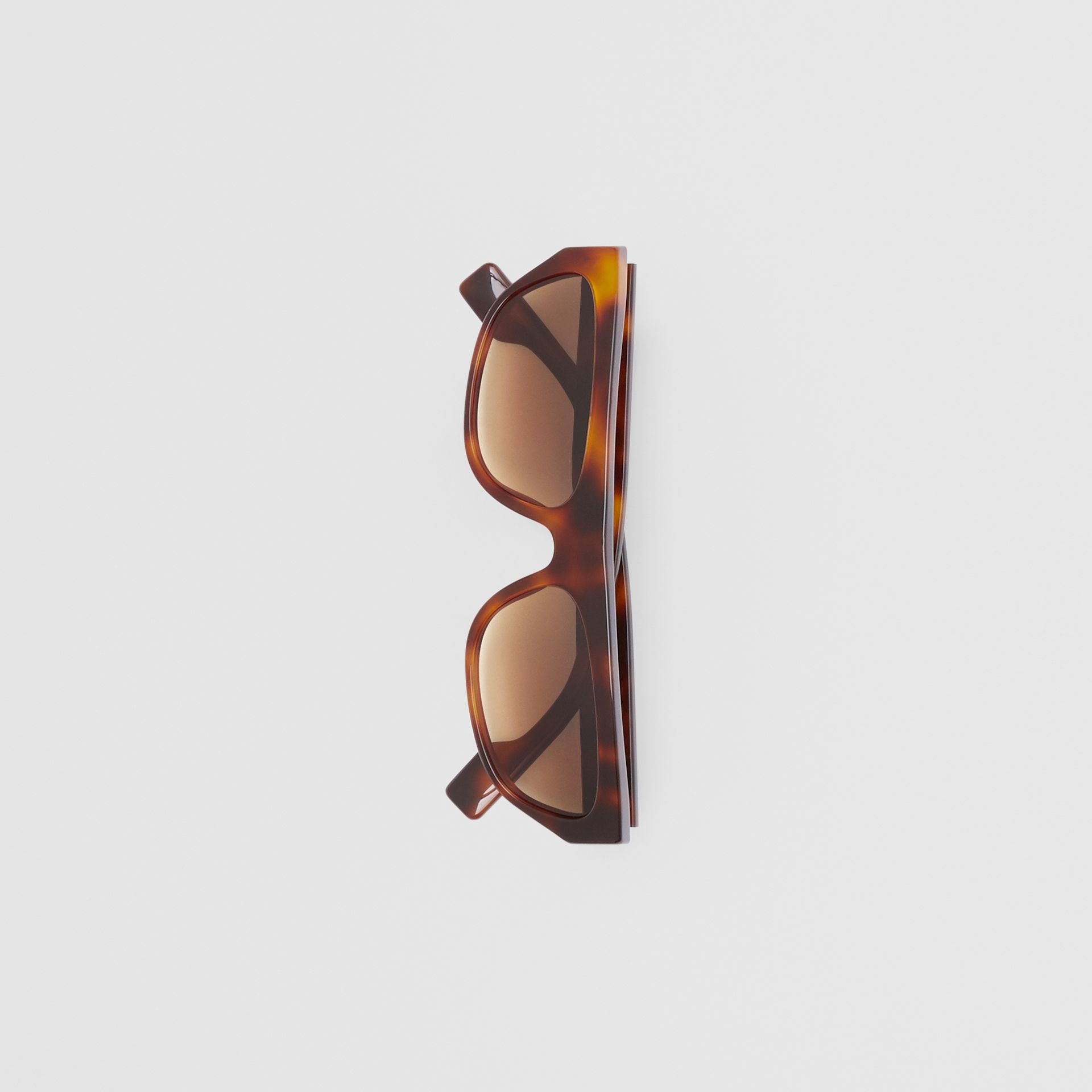 Monogram Motif Rectangular Frame Sunglasses in Amber Tortoiseshell | Burberry - gallery image 4