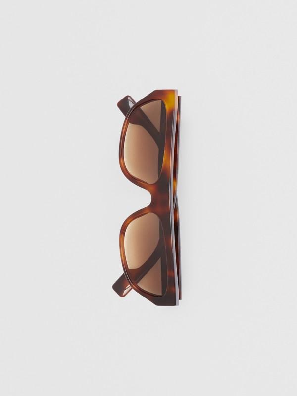 Monogram Motif Rectangular Frame Sunglasses in Amber Tortoiseshell | Burberry - cell image 2