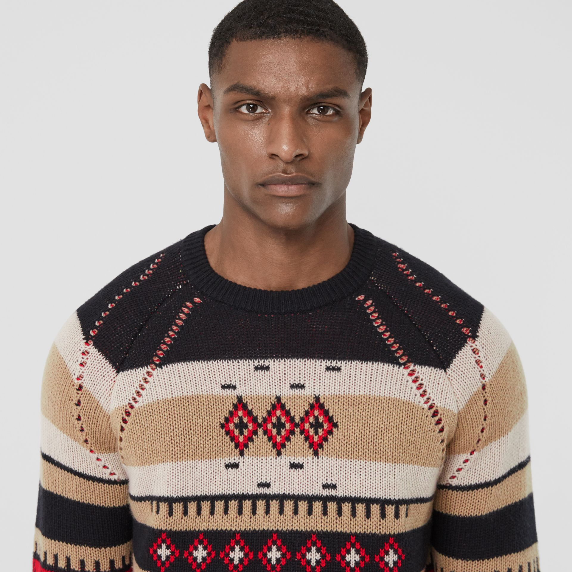 Icon Stripe Detail Fair Isle Cashmere Sweater in Black - Men | Burberry - gallery image 1