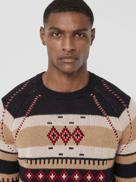 Icon Stripe Detail Fair Isle Cashmere Sweater in Black - Men | Burberry - cell image 1