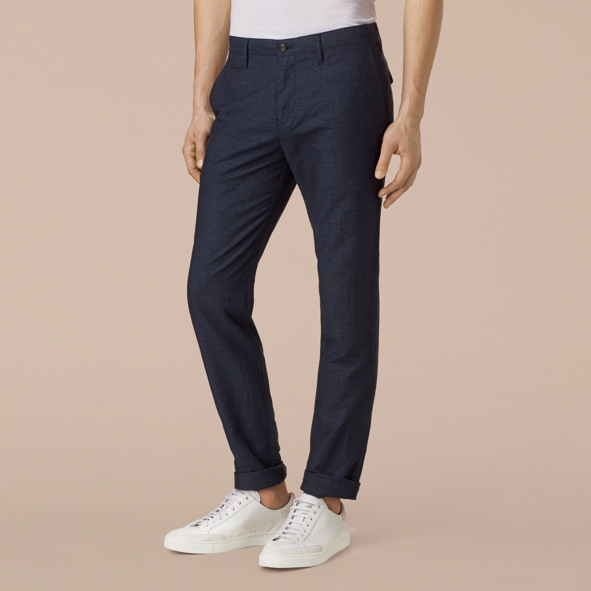 Navy Slim Fit Linen Cotton Trousers - gallery image 4