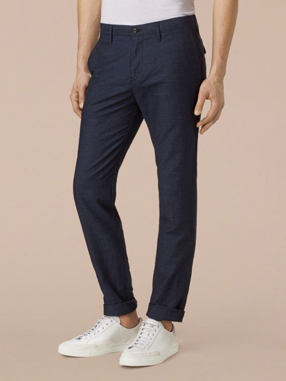 Navy Slim Fit Linen Cotton Trousers - cell image 3