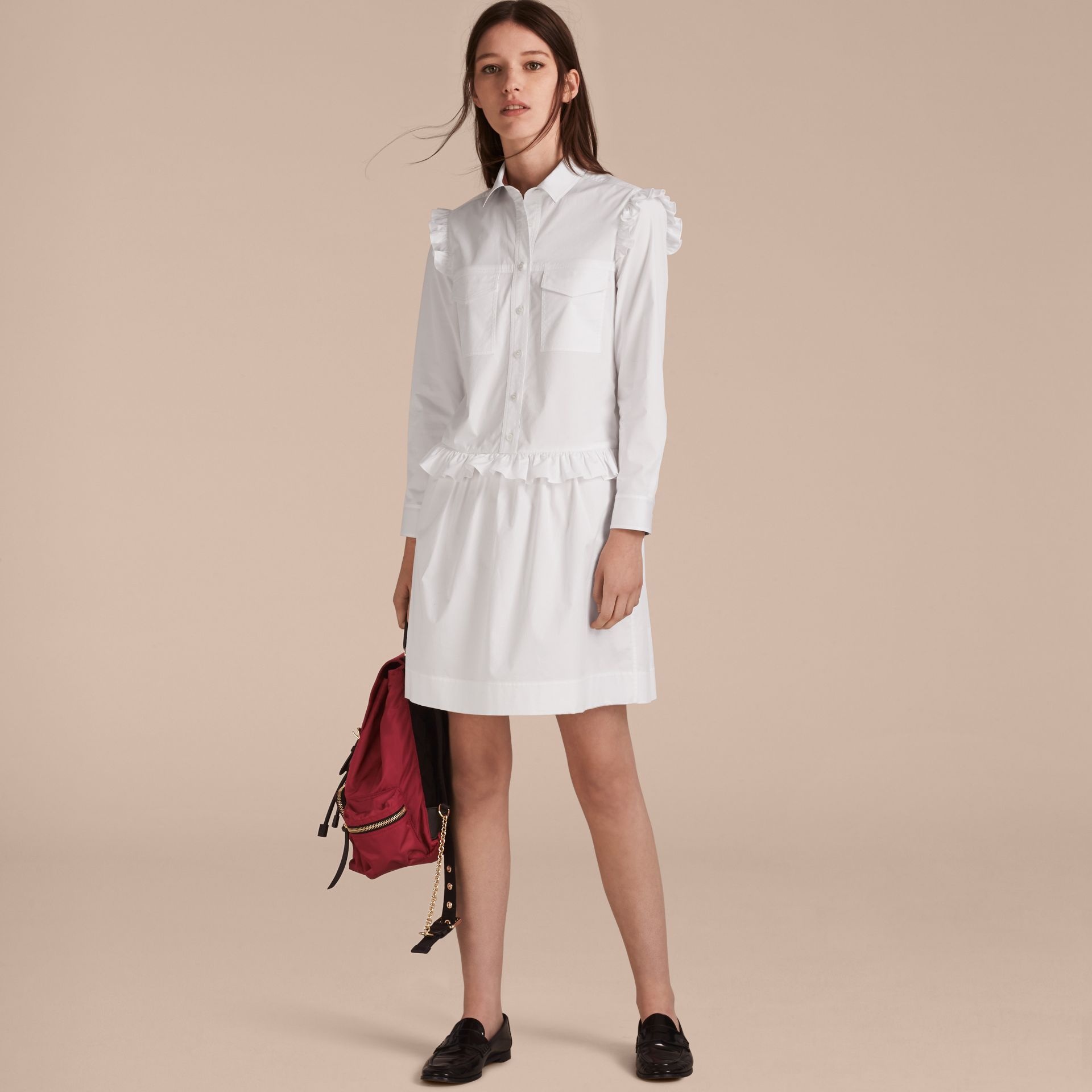 Ruffle and Check Detail Cotton Shirt Dress White - gallery image 7