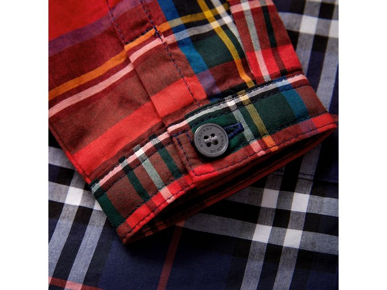 Panelled Tartan and Check Cotton Poplin Shirt in Navy | Burberry United Kingdom - cell image 1
