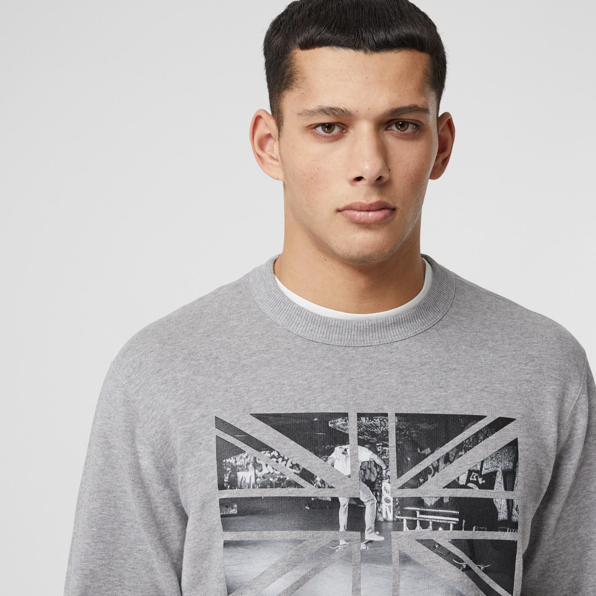 Union Jack Photo Print Cotton Sweatshirt in Pale Grey Melange - Men | Burberry - gallery image 1