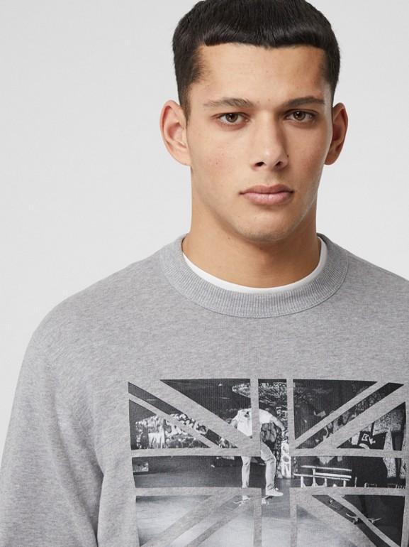 Union Jack Photo Print Cotton Sweatshirt in Pale Grey Melange - Men | Burberry - cell image 1