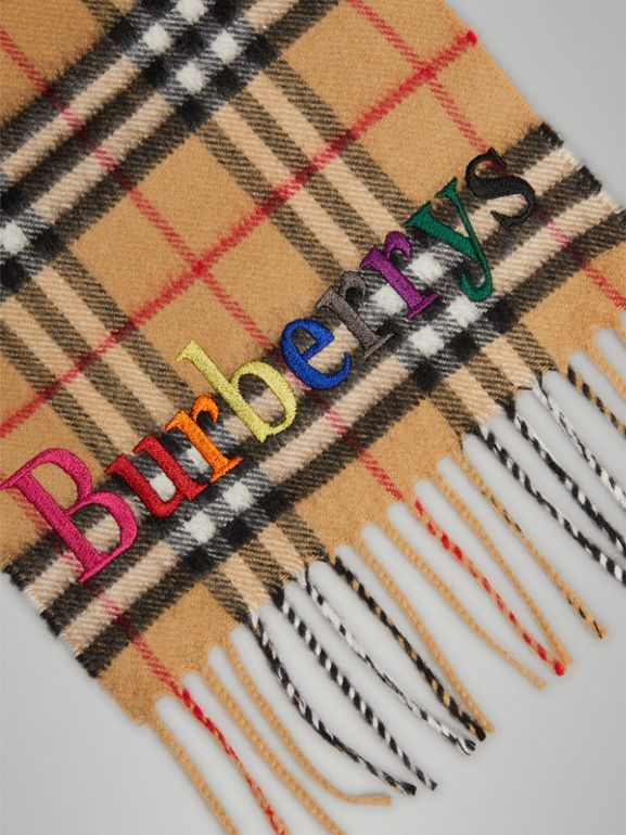 The Mini Classic Cashmere Scarf with Archive Logo in Antique Yellow | Burberry - cell image 1