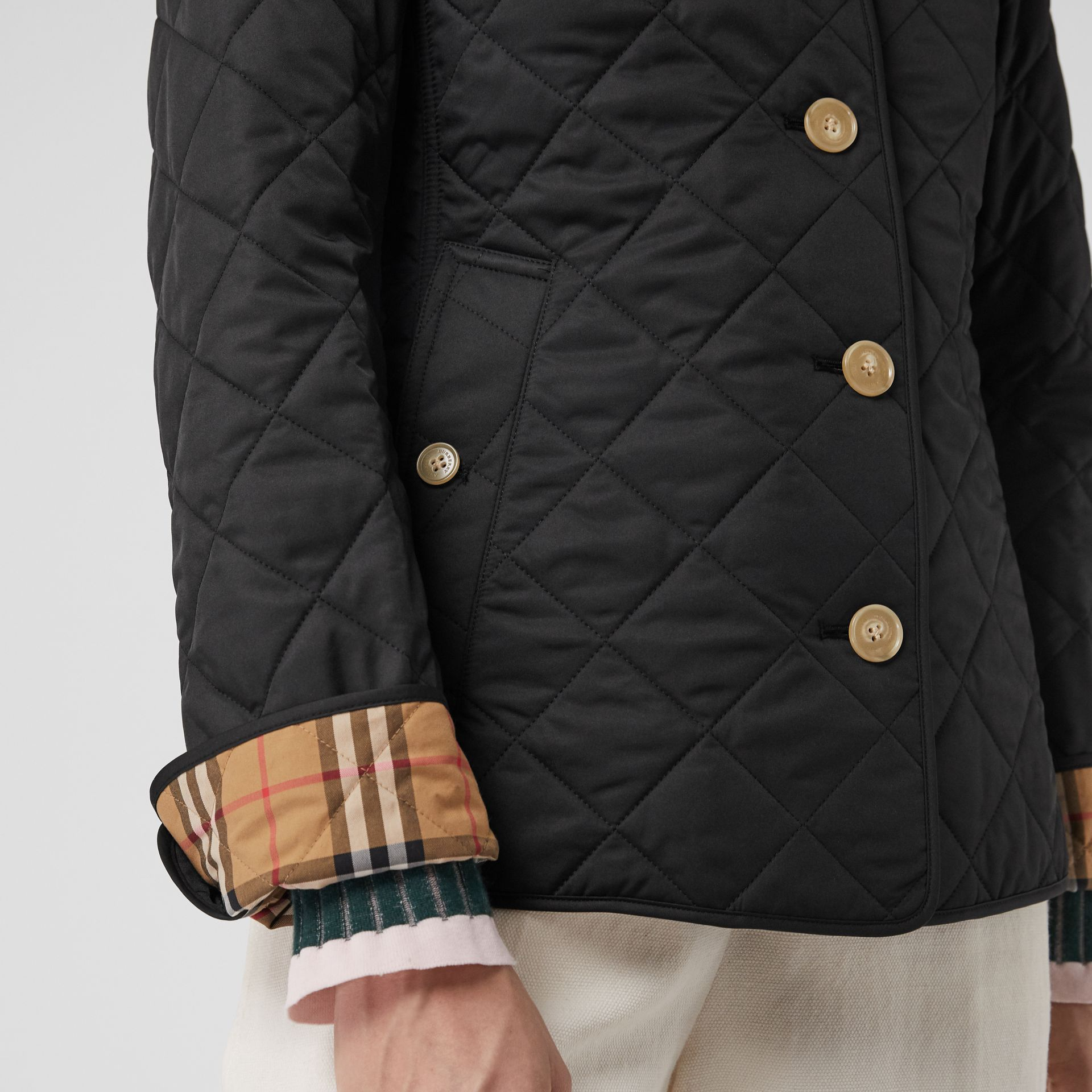 Diamond Quilted Jacket in Black - Women | Burberry Hong Kong - gallery image 3