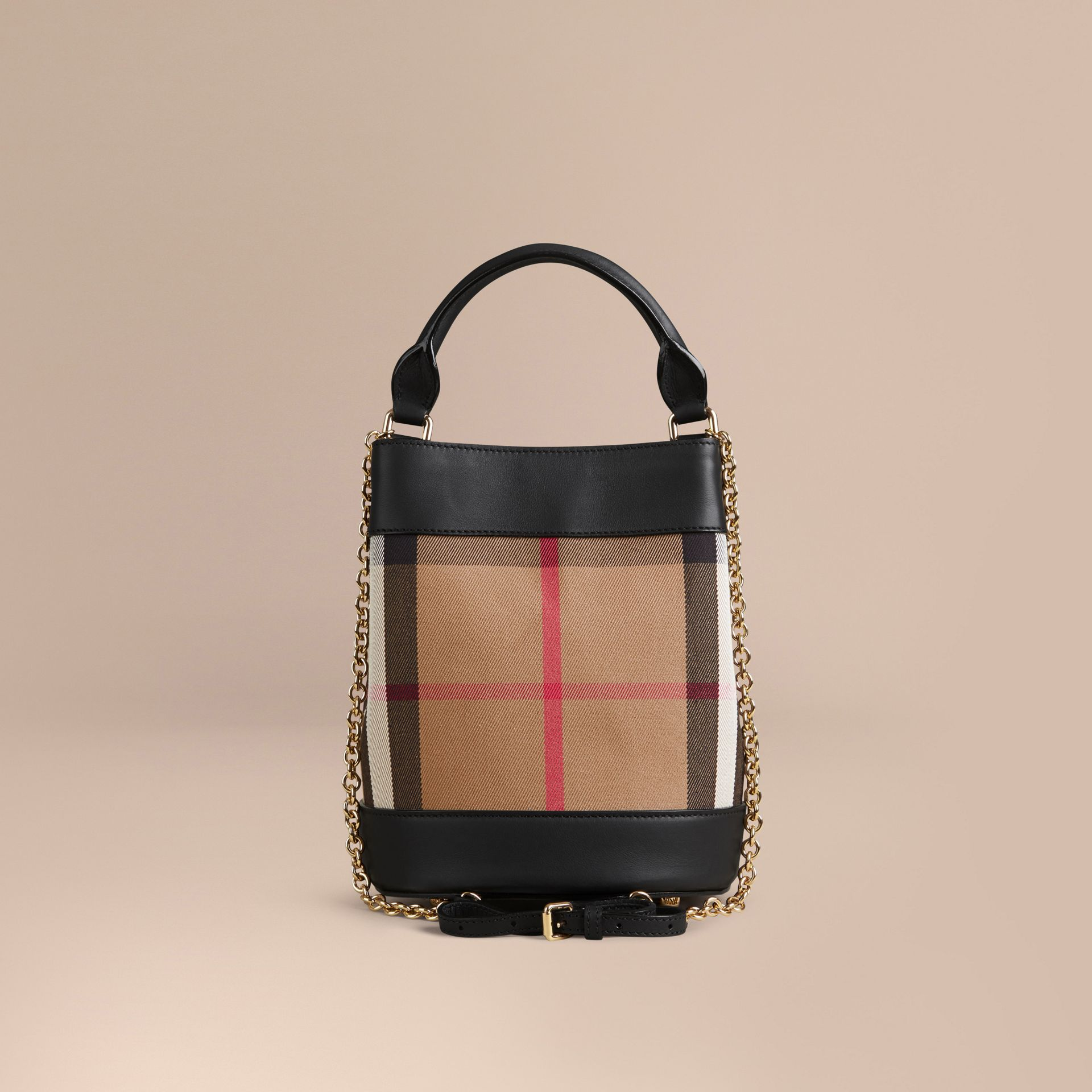 Noir Petit sac Burberry Bucket en coton House check et cuir - photo de la galerie 4