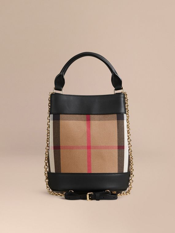 Noir Petit sac Burberry Bucket en coton House check et cuir - cell image 3