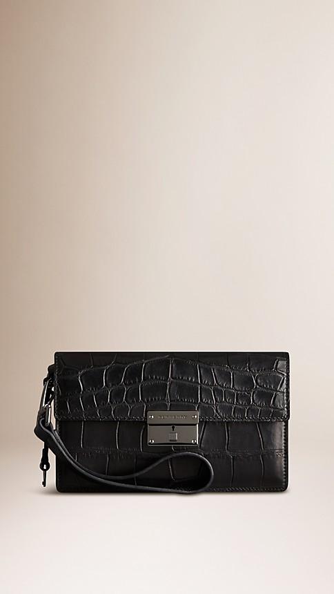 Black Alligator Wrist-Strap Wallet - Image 1