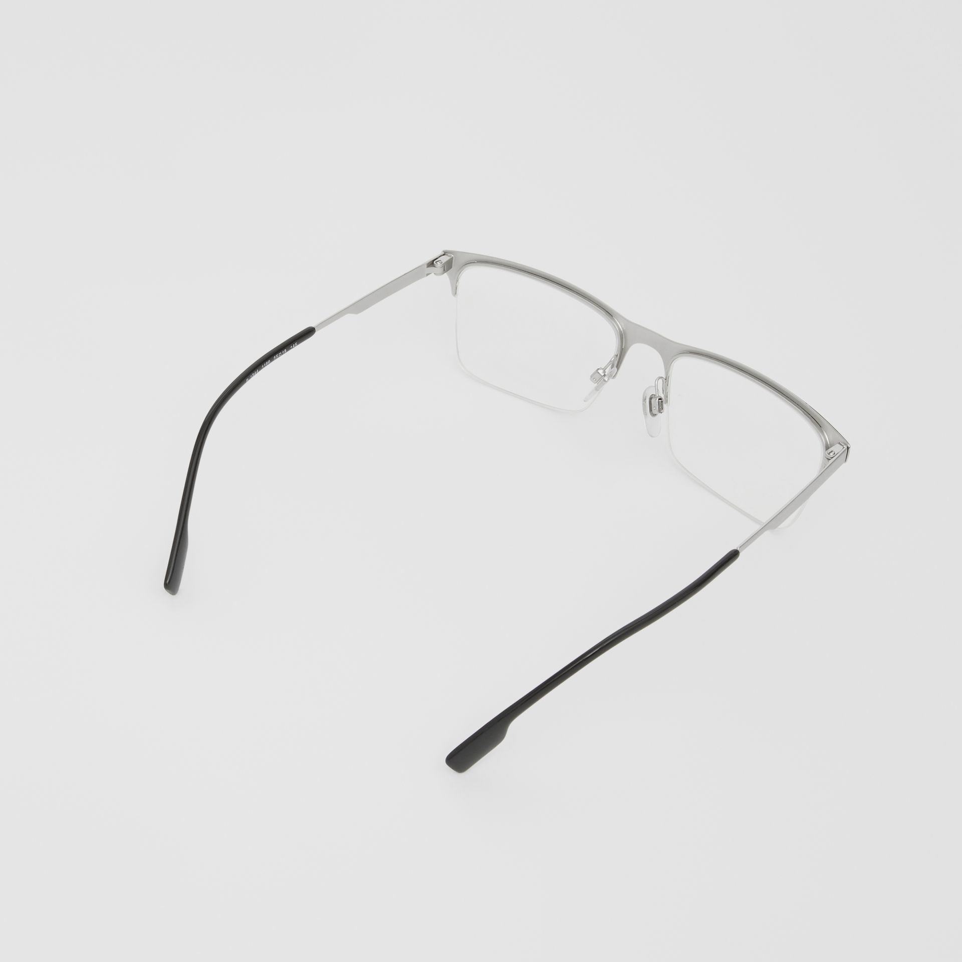 Rectangular Optical Frames in Silver - Men | Burberry - gallery image 4