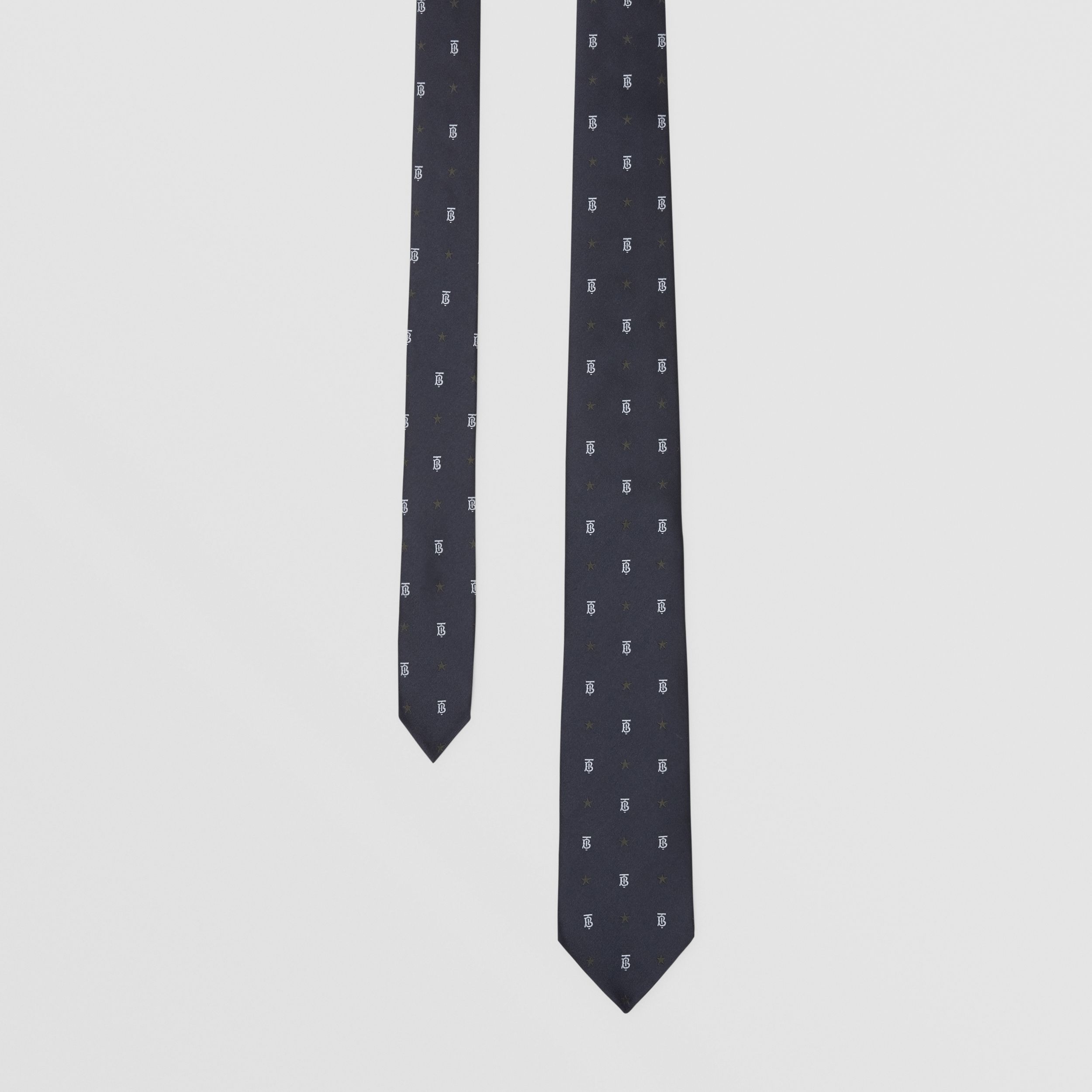Classic Cut Star and Monogram Motif Silk Tie in Dark Navy - Men | Burberry - 1