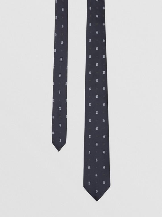 Gravata de seda com corte clássico e estampa de monograma e estrela (Azul Marinho Escuro)