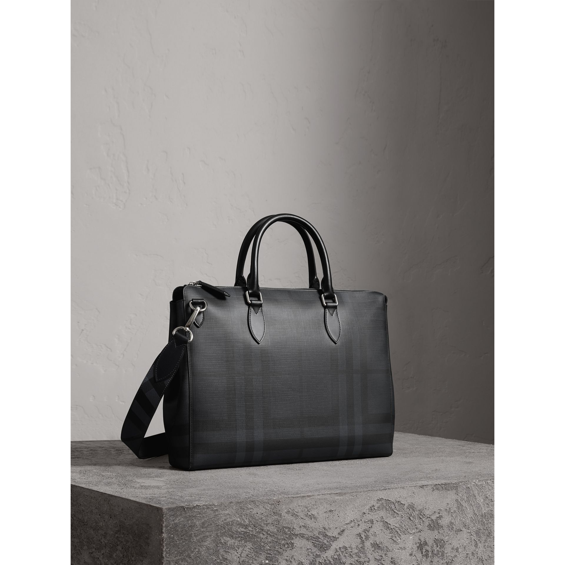 Large London Check Briefcase in Charcoal/black - Men | Burberry - gallery image 5