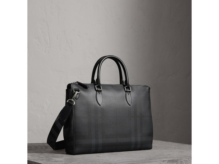 Large London Check Briefcase in Charcoal/black - Men | Burberry - cell image 4
