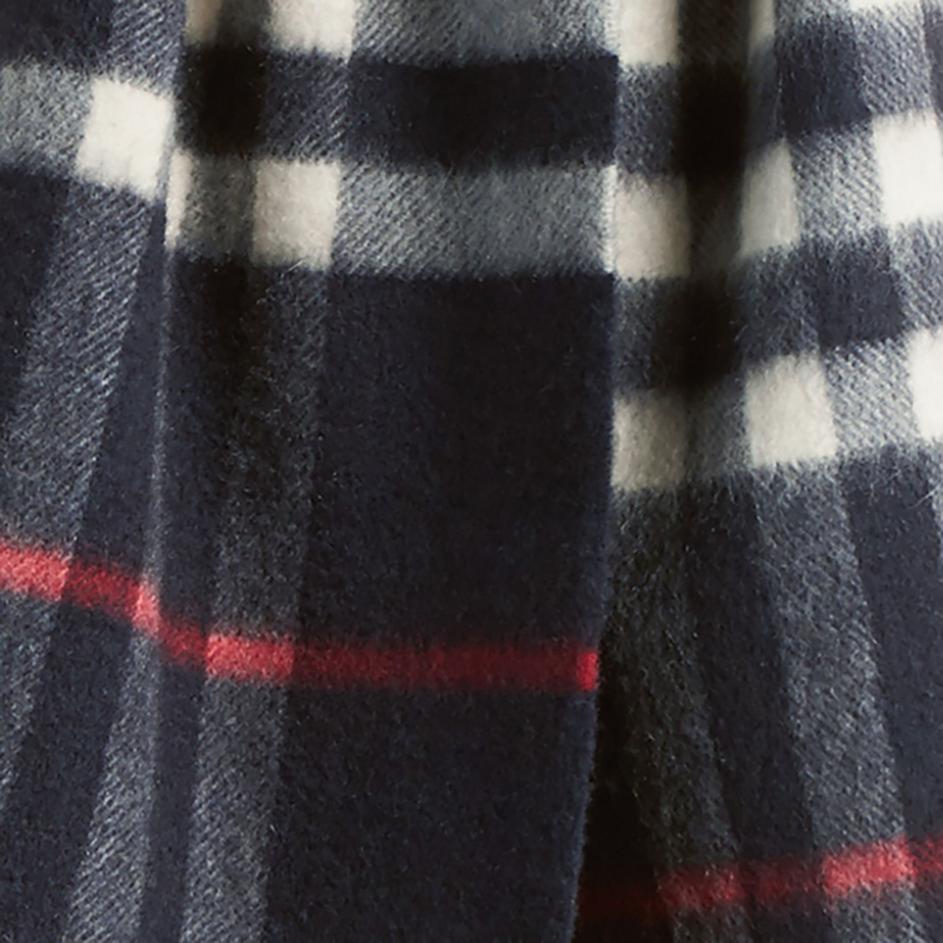 The Mini Classic Cashmere Scarf in Check in Navy - gallery image 4