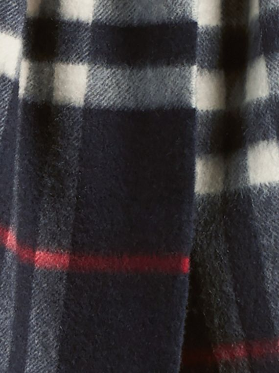 Navy The Mini Classic Cashmere Scarf in Check Navy - cell image 3