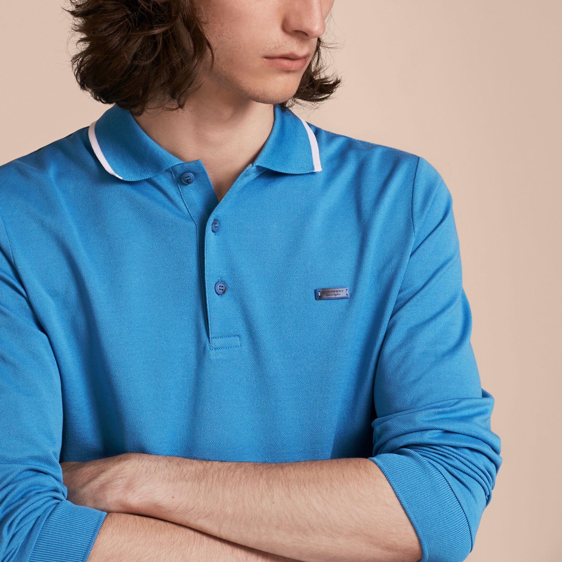 Long-sleeved Tipped Cotton Piqué Polo Shirt Chalk Blue - gallery image 5