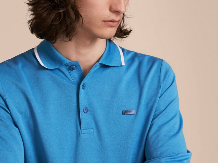 Long-sleeved Tipped Cotton Piqué Polo Shirt Chalk Blue - cell image 4