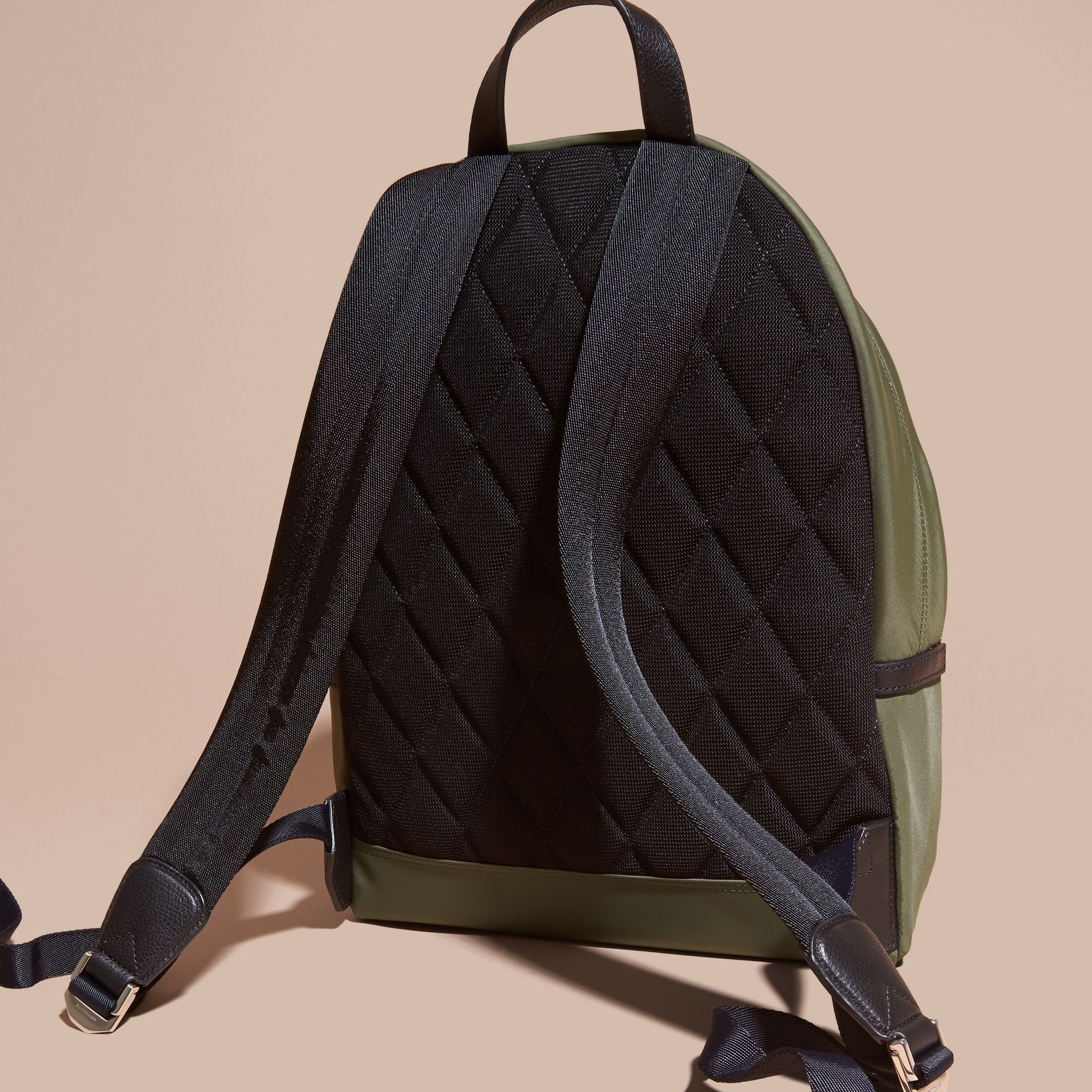 Canvas green Leather Trim Nylon Backpack Canvas Green - gallery image 4