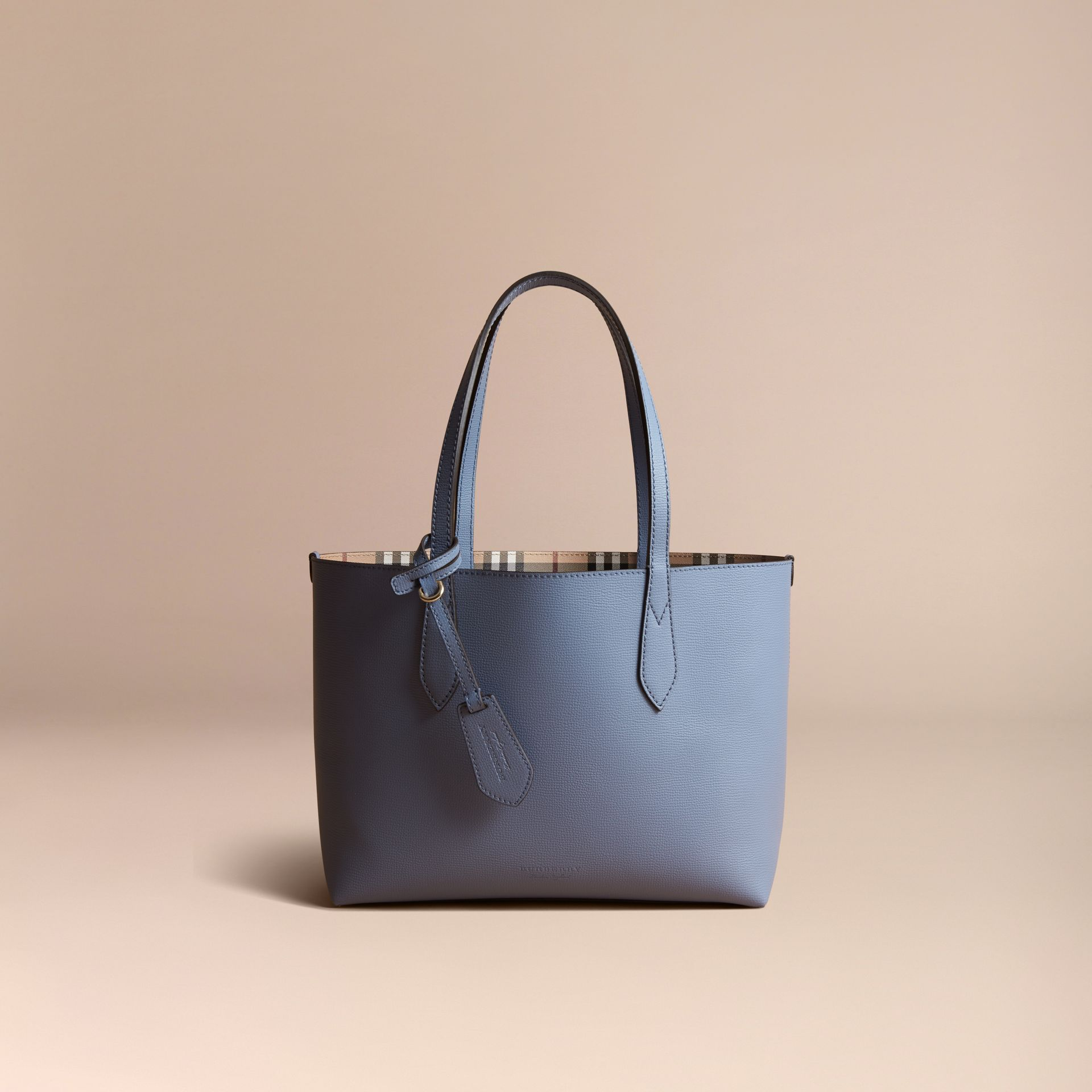 The Small Reversible Tote in Haymarket Check and Leather Slate Blue - gallery image 8
