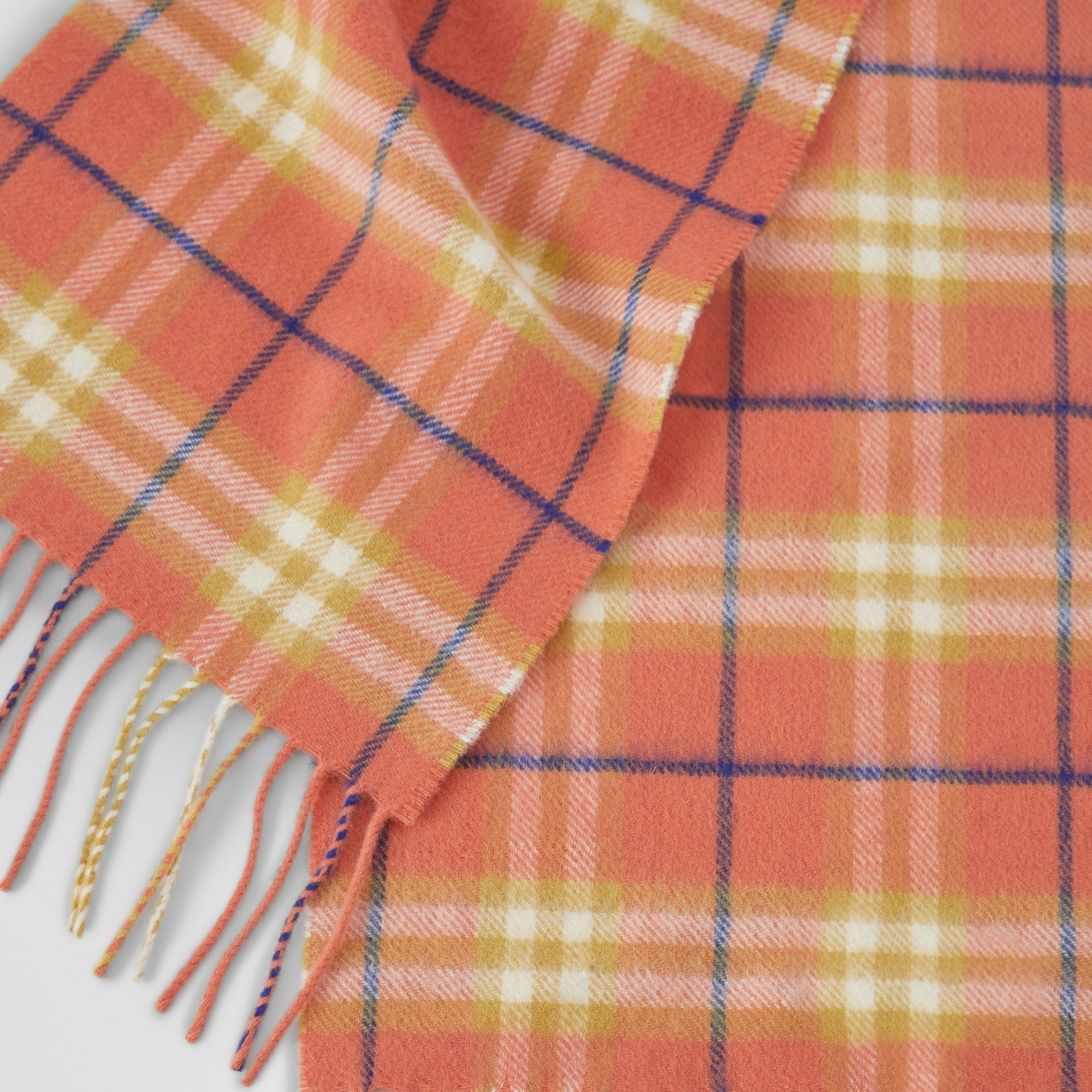 The Mini Classic Vintage Check Cashmere Scarf in Coral - Children | Burberry United Kingdom - gallery image 1