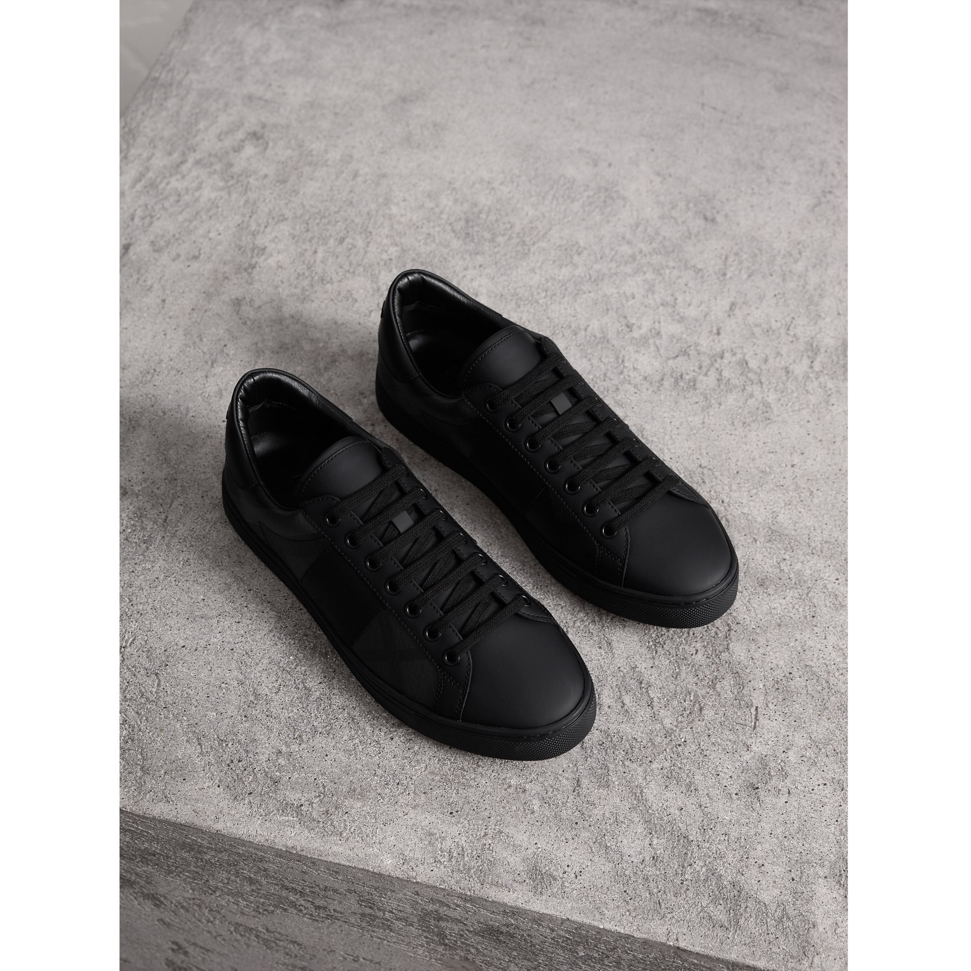 Check Detail Leather Trainers in Charcoal - Men | Burberry - gallery image 1