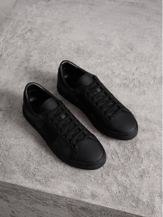 Check Detail Leather Trainers in Charcoal