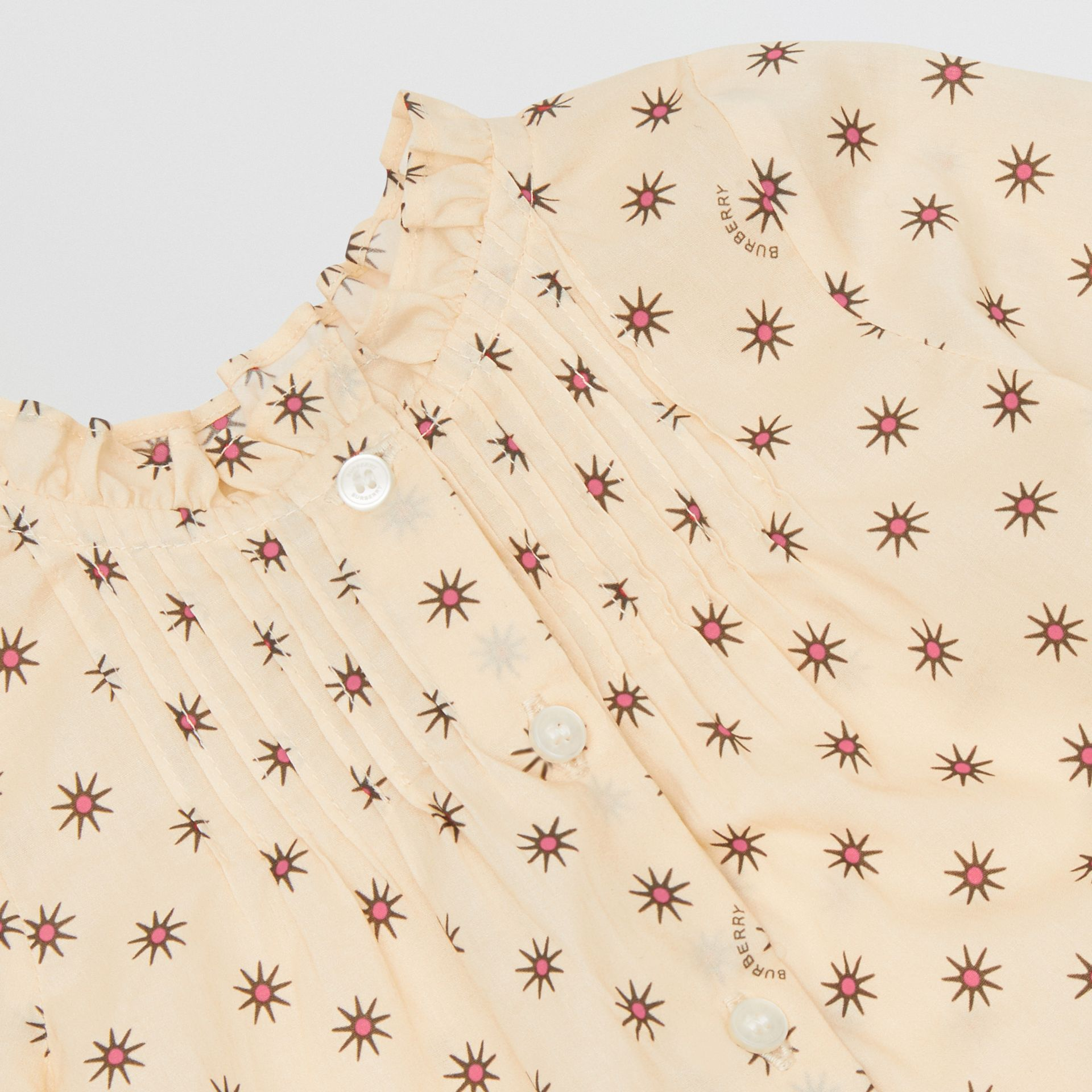 Ruffle Detail Star Print Cotton Blouse in Military Red - Children | Burberry - gallery image 1